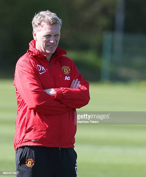 Manager David Moyes of Manchester United in action during a first team trainnig session at Aon Training Complex on April 18 2014 in Manchester England