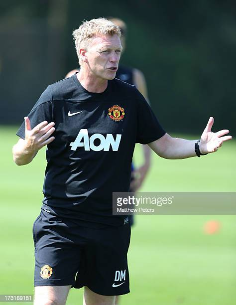 Manager David Moyes of Manchester United reacts during a first team training session at the Aon Training Complex on July 9, 2013 in Manchester,...