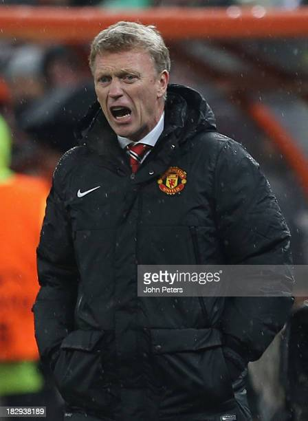 Manager David Moyes of Manchester United shouts instructions from the touchline during the UEFA Champions League Group A match between Shakhtar...