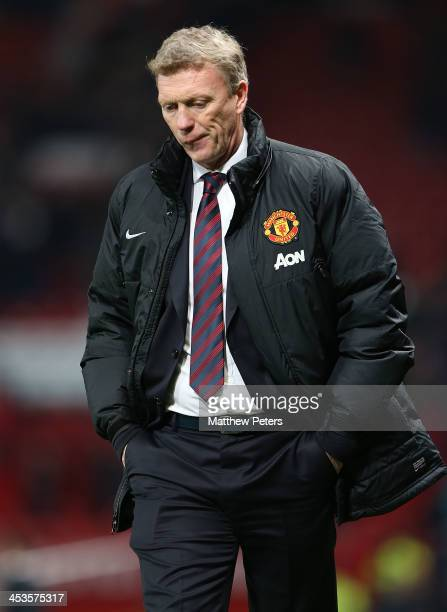 Manager David Moyes of Manchester United shows his disappointment after the Barclays Premier League match between Manchester United and Everton at...