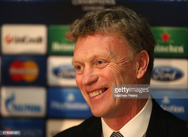 Manager David Moyes of Manchester United speaks during a prematch press conference ahead of their UEFA Champions League Round of 16 second leg match...