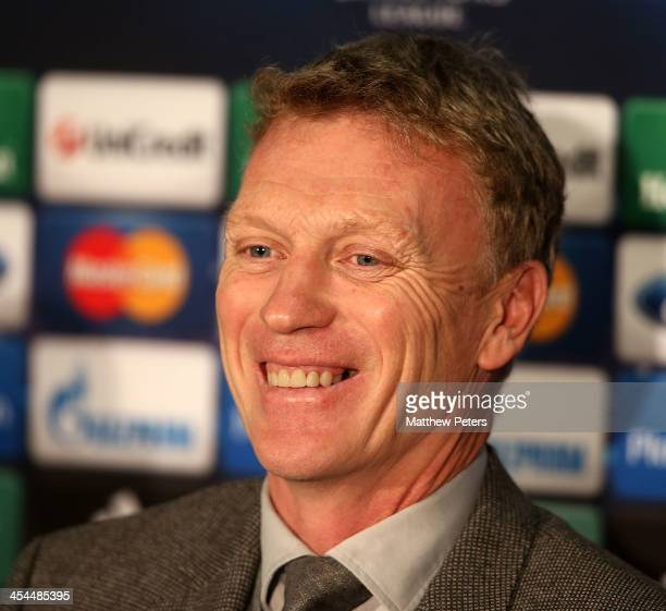 Manager David Moyes of Manchester United speaks during a press conference ahead of their UEFA Champions League Group A match against Shakhtar Donetsk...