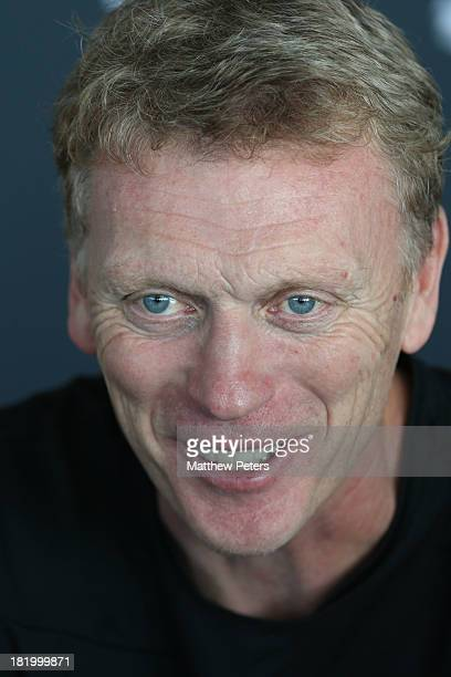 Manager David Moyes of Manchester United speaks during a press conference at the Aon Training Complex on 27 September 2013 in Manchester England