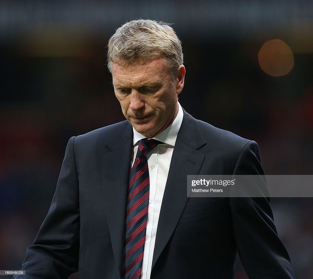 Manager David Moyes of Manchester United walks off after the Barclays Premier League match between Manchester United and Southampton at Old Trafford on October 19, 2013 in Manchester, England.