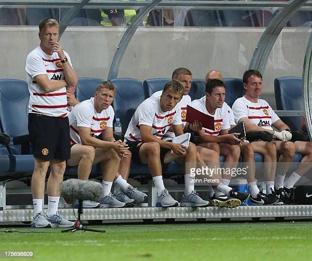 Manager David Moyes of Manchester United watches from the touchline during the preseason friendly match between AIK Fotboll and Manchester United at...
