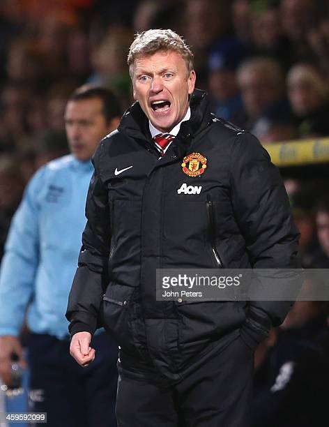 Manager David Moyes of Manchester United watches from the touchline during the Barclays Premier League matche between Norwich City and Manchester...