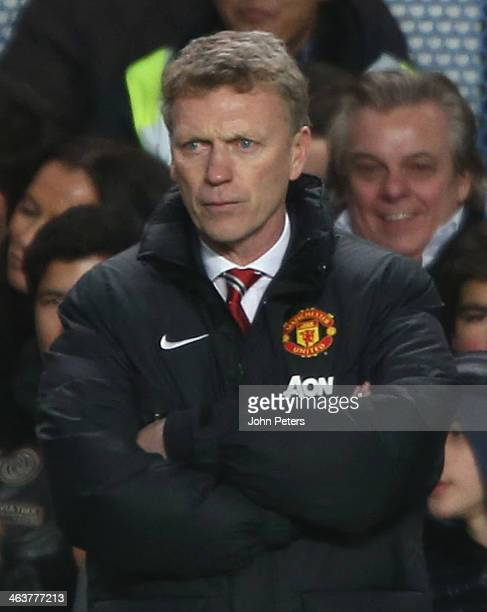 Manager David Moyes of Manchester United watches from the touchline during the Barclays Premier League match between Chelsea and Manchester United at...