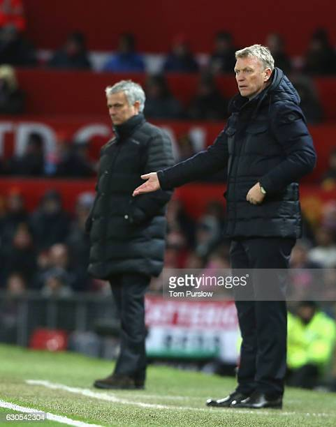 Manager David Moyes of Sunderland watches from the touchline during the Premier League match between Manchester United and Sunderland at Old Trafford...