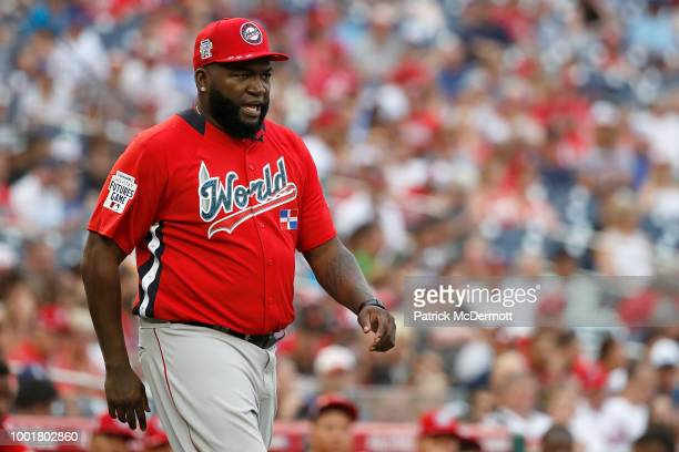 Manager David Ortiz of the World Team during the SiriusXM All-Star Futures Game at Nationals Park on July 15, 2018 in Washington, DC.