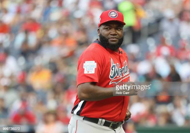 Manager David Ortiz of the World Team looks on against the US Team during the SiriusXM AllStar Futures Game at Nationals Park on July 15 2018 in...