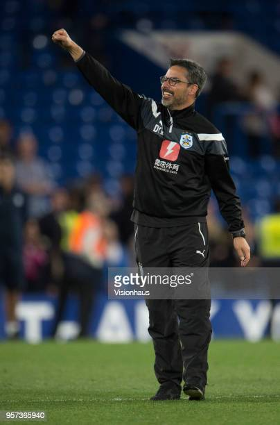 Manager David Wagner celebrates as Huddersfield avoid relegation during the Premier League match between Chelsea and Huddersfield at Stamford Bridge...