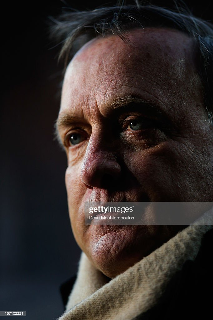 Manager, Dick Advocaat speaks to the media prior to the Eredivisie match between AZ Alkmaar and PSV Eindhoven at the AFAS Stadium on April 20, 2013 in Alkmaar, Netherlands.