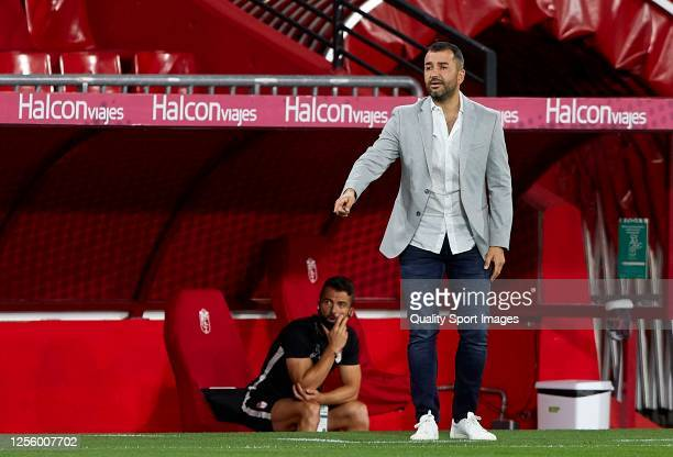Manager Diego Martinez of Granada CF reacts on the sidelines during the Liga match between Granada CF and Real Madrid CF at Nuevo Los Carmenes on...