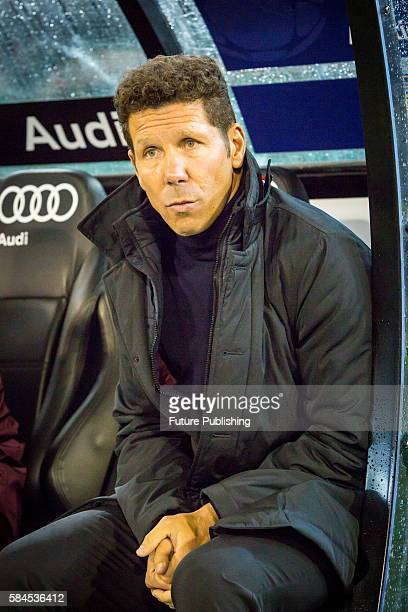 Manager Diego Simeone of Athletico Madrid before playing Tottenham Hotspur in Match 3 of the International Champions Cup 2016 on July 29 2016 in...