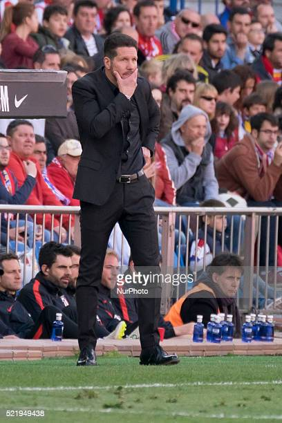 Manager Diego Simeone of Club Atletico de Madrid looks on during the La Liga match between Club Atletico de Madrid and Granada CF at Vicente Calderon...