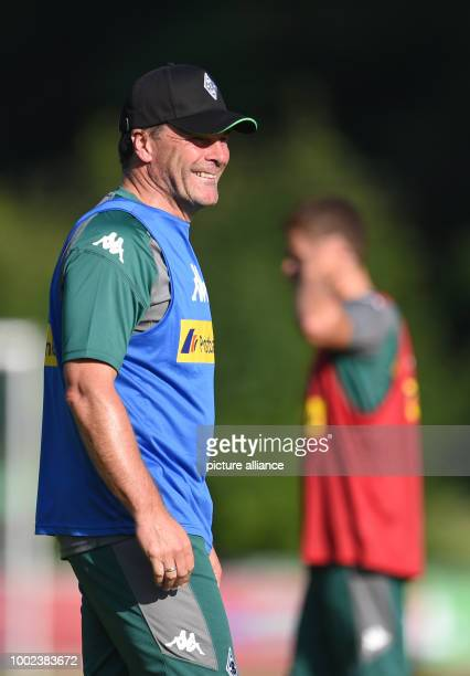 Manager Dieter Hecking at the Borussia Moenchengladbach training camp in Rottach-Egern, Germany, 17 July 2017. Photo: Andreas Gebert/dpa