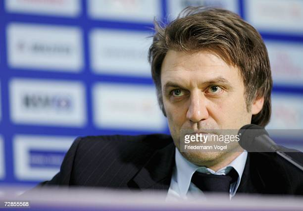 Manager Dietmar Beiersdorfer attends a press conference after the General Meeting of Hamburger SV, at the AOL Arena on December 20, 2006 in Hamburg,...