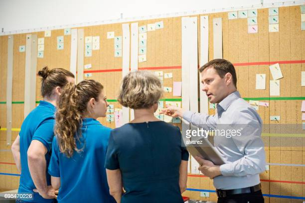 Manager discussing with team at task board in printing press