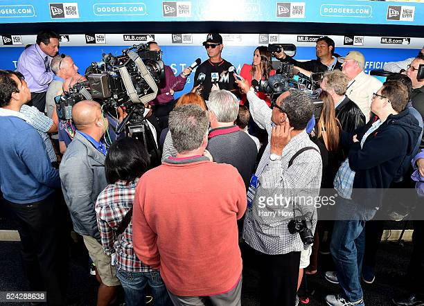 Manager Don Mattingly of the Miami Marlins speaks to the media during batting practice before the game against the Los Angeles Dodgers at Dodger...