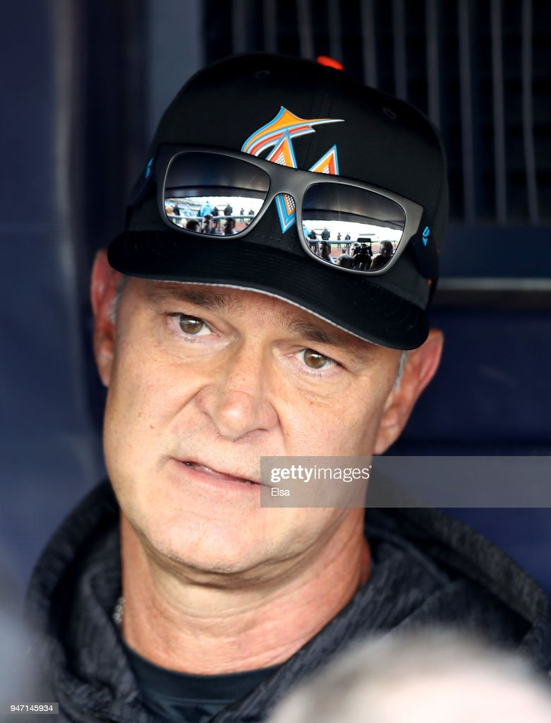 Manager Don Mattingly #8 of the Miami Marlins speaks with reporters before the game against the New York Yankees at Yankee Stadium on April 16, 2018 in the Bronx borough of New York City.