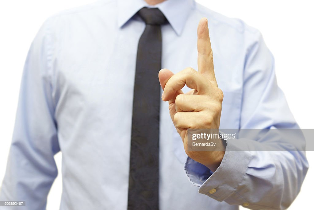 Manager during the meeting shows  be careful sign : Stock Photo