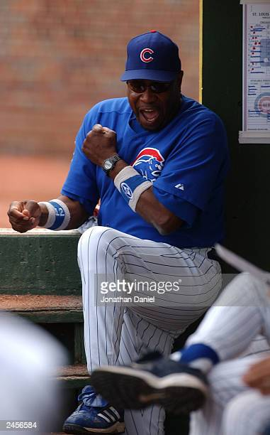 Manager Dusty Baker of the Chicago Cubs celebrates after first baseman Hee Seop Choi caught a line-drive for an out in the 12th inning of a game...