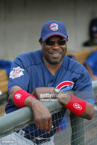 Manager Dusty Baker of the Chicago Cubs looks on during the game against the Oakland Athletics at Phoenix Municipal Stadium on March 6 2006 in...