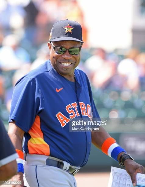 Manager Dusty Baker of the Houston Astros looks on during the Spring Training game against the Detroit Tigers at Publix Field at Joker Marchant...