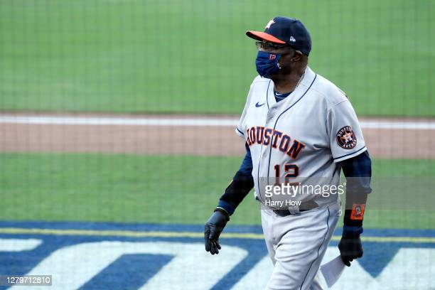 Manager Dusty Baker of the Houston Astros looks on prior to game one of the American League Championship Series against the Tampa Bay Rays at PETCO...