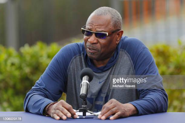 Manager Dusty Baker of the Houston Astros speaks during a press conference at FITTEAM Ballpark of The Palm Beaches on February 13, 2020 in West Palm...