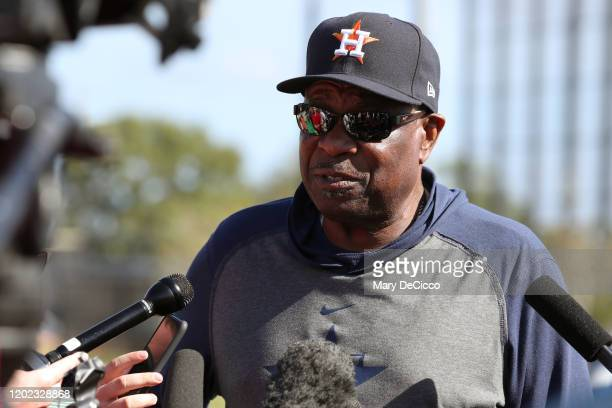 Manager Dusty Baker of the Houston Astros speaks to the media during spring training on Tuesday, February 18, 2020 at the FITTEAM Ballpark of the...