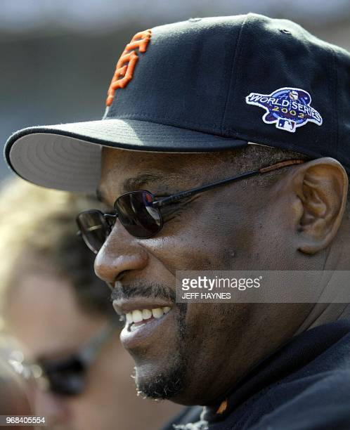 Manager Dusty Baker of the San Francisco Giants smiles during his team's workout at Pacific Bell Park 16 October 2002 in San Francisco CA The Giants...