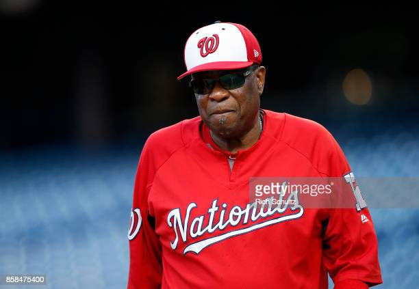 Manager Dusty Baker of the Washington Nationals before a game against the Philadelphia Phillies at Citizens Bank Park on September 26, 2017 in...