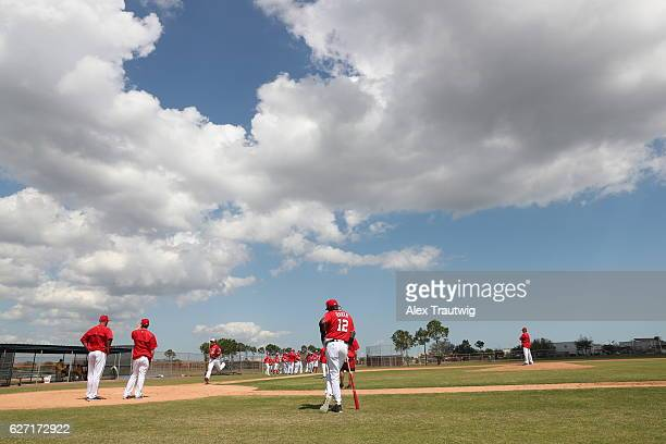 Manager Dusty Baker of the Washington Nationals is seen during a Spring Training workout on Tuesday March 1 2016 at Space Coast Stadium in Viera...