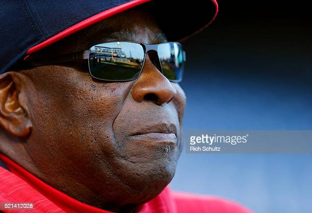 Manager Dusty Baker of the Washington Nationals looks on before an MLB game against the Philadelphia Phillies at Citizens Bank Park on April 15 2016...