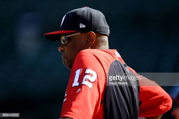 Manager Dusty Baker of the Washington Nationals looks on before game three of the National League Division Series against the Chicago Cubs at Wrigley...