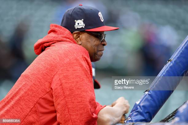 Manager Dusty Baker of the Washington Nationals looks on before game four of the National League Division Series against the Chicago Cubs at Wrigley...