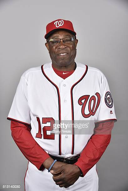 Manager Dusty Baker of the Washington Nationals poses during Photo Day on Sunday February 28 2016 at Space Coast Stadium in Viera Florida