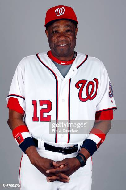 Manager Dusty Baker of the Washington Nationals poses during Photo Day on Thursday February 23 2017 at the Ballpark of the Palm Beaches in West Palm...
