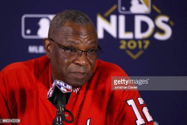 Manager Dusty Baker of the Washington Nationals speaks to the media before game four of the National League Division Series against the Chicago Cubs...