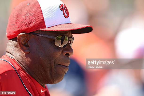 Manager Dusty Baker of the Washington Nationals watches his team prior to a spring training game against the Houston Astros at Osceola County Stadium...