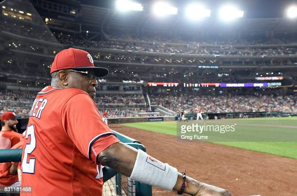 Manager Dusty Baker of the Washington Nationals watches the game in the sixth inning against the San Francisco Giants during Game 2 of a doubleheader...