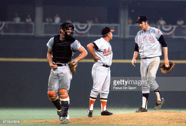 Manager Earl Weaver of the Baltimore Orioles and the American League AllStars comes out to talk with pitcher Sam McDowell of the Cleveland Indians...