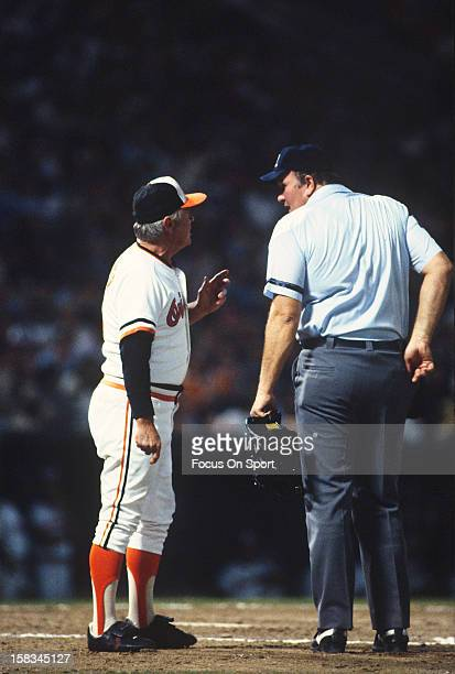 Manager Earl Weaver of the Baltimore Orioles argues with the home plate umpire during an Major League Baseball game circa 1982 at Memorial Stadium in...