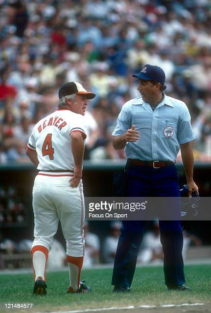 Manager Earl Weaver of the Baltimore Orioles argues with the umpire during an MLB baseball game circa 1980 at Memorial Stadium in Baltimore Maryland...