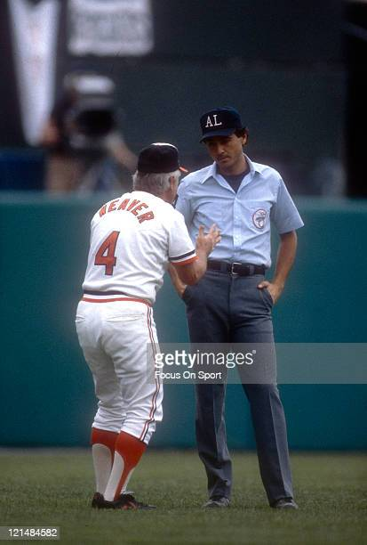 Manager Earl Weaver of the Baltimore Orioles argues with the umpire during an MLB baseball game circa 1980 at Memorial Stadium in Baltimore,...