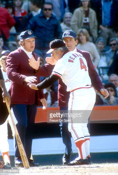 Manager Earl Weaver of the Baltimore Orioles argues with the umpires during an MLB baseball game circa 1977 at Memorial Stadium in Baltimore Maryland...