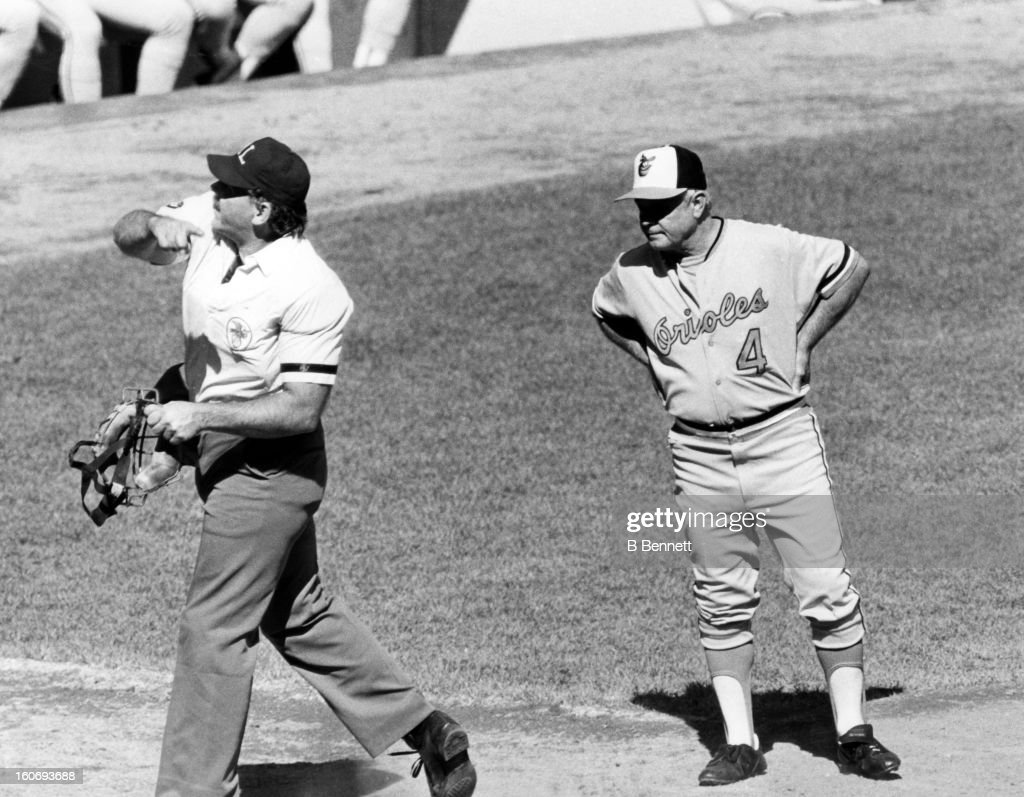 Manager Earl Weaver #4 of the Baltimore Orioles is thrown out of the game after arguing a call during an MLB game circa 1980.