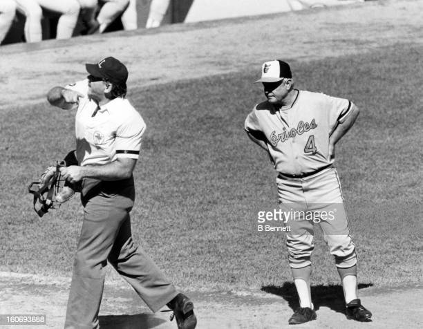 Manager Earl Weaver of the Baltimore Orioles is thrown out of the game after arguing a call during an MLB game circa 1980