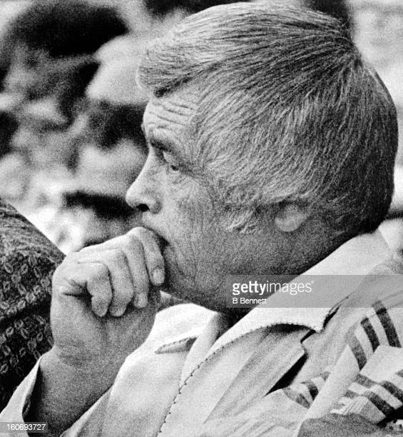Manager Earl Weaver of the Baltimore Orioles serves the first game of a three game suspension as he looks on from the stands during an MLB game...